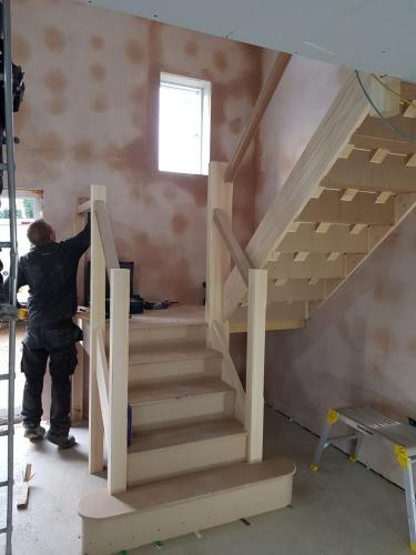 Demolition of existing bungalow to create new 4 bedroom stone dwelling - Sutton - Works in progress - Installation of staircase