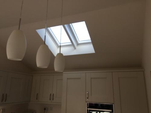 Rear extension to create kitchen with vaulted ceiling & velux windows - Orton